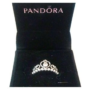 NIB PANDORA 925 Sterling Silver Princess Ring
